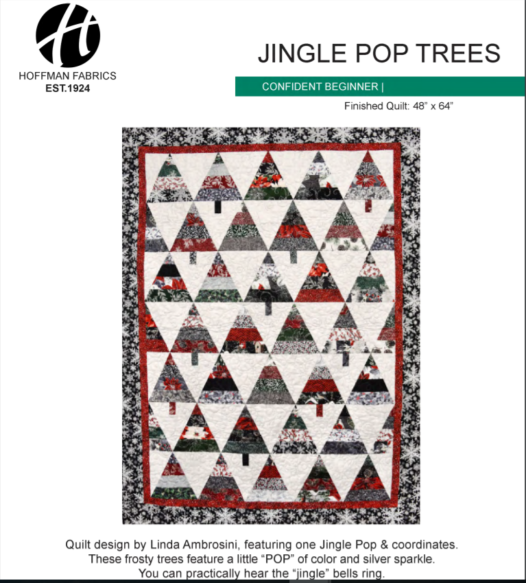 Free Pattern:  Jingle Pop Trees by Hoffman of California for 2.5 strips
