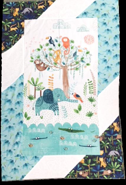 Jungle Fever Children's PANEL Quilt Kit - Elephant sloth toucan monkey