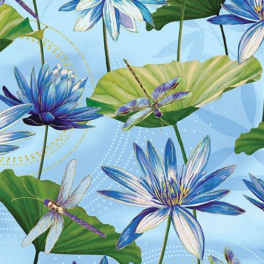 Dragonfly Dance - Kanvas Studio | Waterlily Pool Light Blue 8499M-51