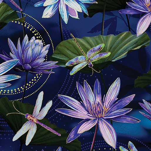 Dragonfly Dance - Kanvas Studio | Waterlily Pool Cobalt Blue 8499M-59