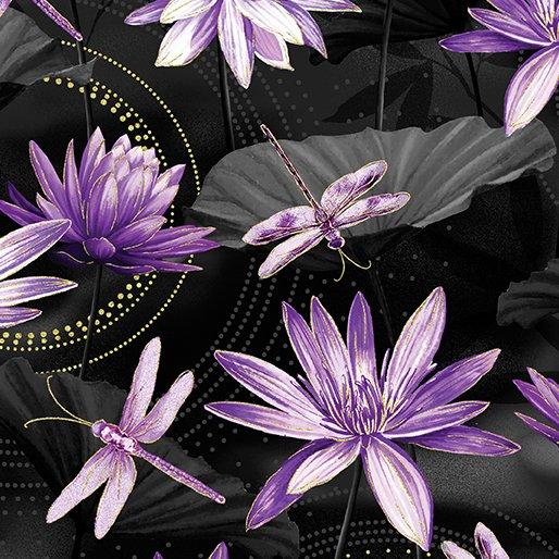 Dragonfly Dance - Kanvas Studio | Waterlily Pool Black/Purple 8499M-66