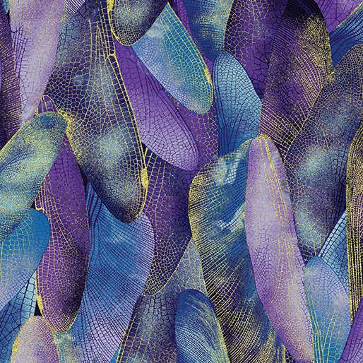 Dragonfly Dance - Kanvas Studio | Gilded Wings Blue/Violet 8501M-60