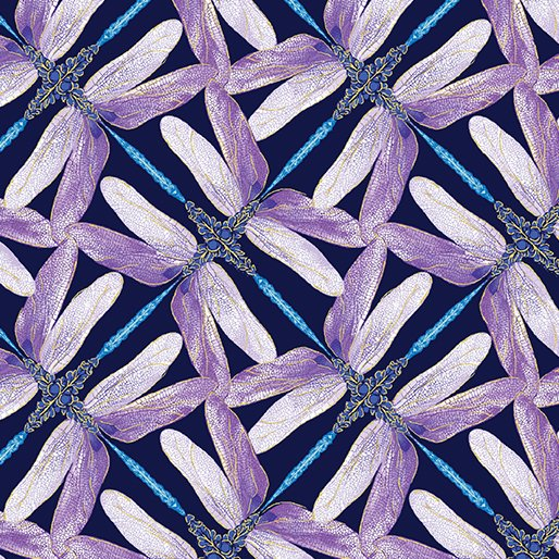 Dragonfly Dance - Kanvas Studio | Pinwheel Geo Navy/Violet 8502M-68