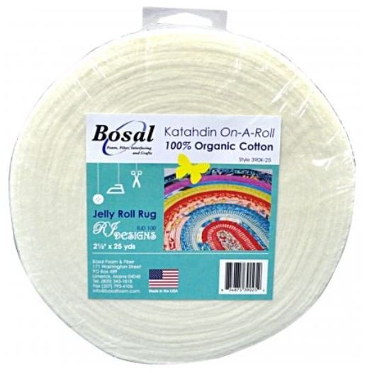 Katahdin on A Roll by Bosal - 100% Organic Cotton.  2 1/2 x25 yds for Jelly Roll Rug
