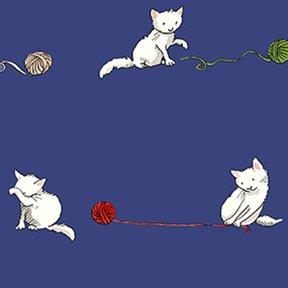 Knittens by Anita Jeram for Clothworks Y2084-93 Light Navy Kittens Yarn