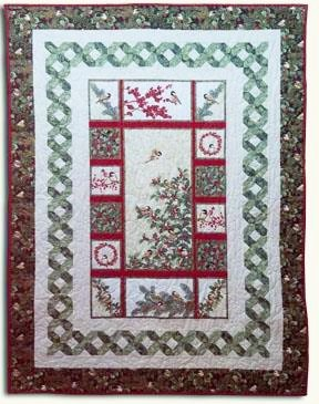 Lattice PANEL Quilt Kit featuring Chickadee Holly & Berry Fabrics by Jackie Robinson for Benartex