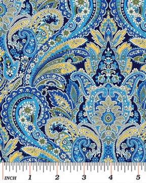 Benartex - Arabella 4183-55 PAISLEY BLUE/YELLOW
