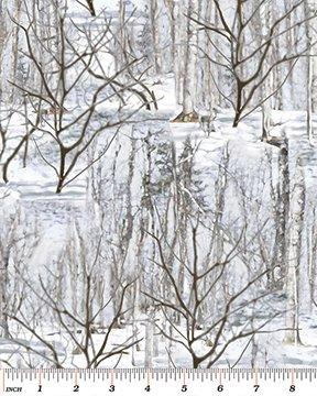 Benartex - The Great North Wilderness FLannel 5035F-11 WINTER FOREST SILVER GREY