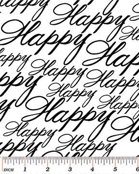 Benartex - Let's Party 08139-09 HAPPY BLACK/WHITE