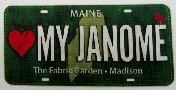 2016 Fabric License Plate  - LOVE MY JANOME! (discounted shipping)