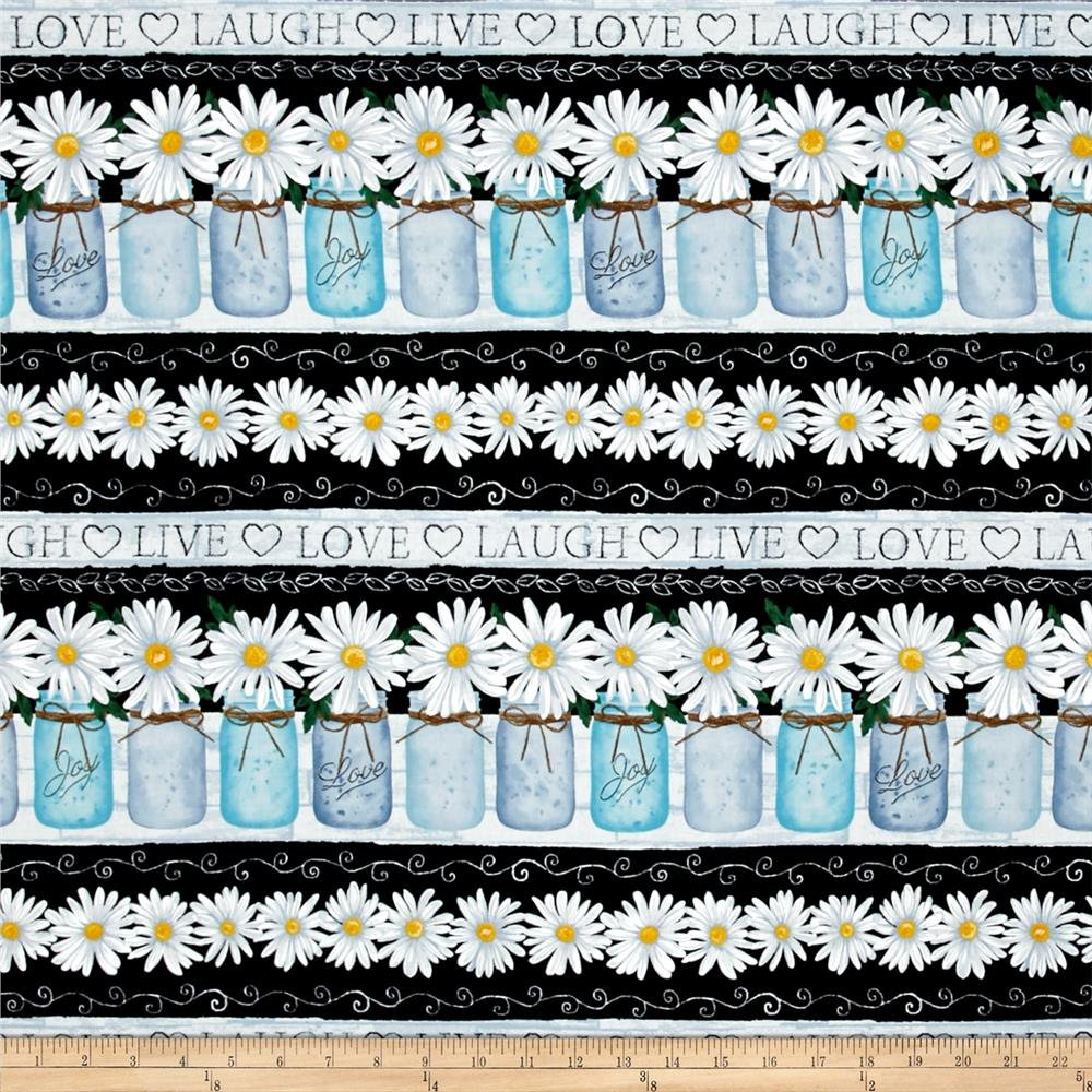 Timeless Treasures Live Love Laugh  C4424 Black Mason Jar Daisy BORDER STRIPE
