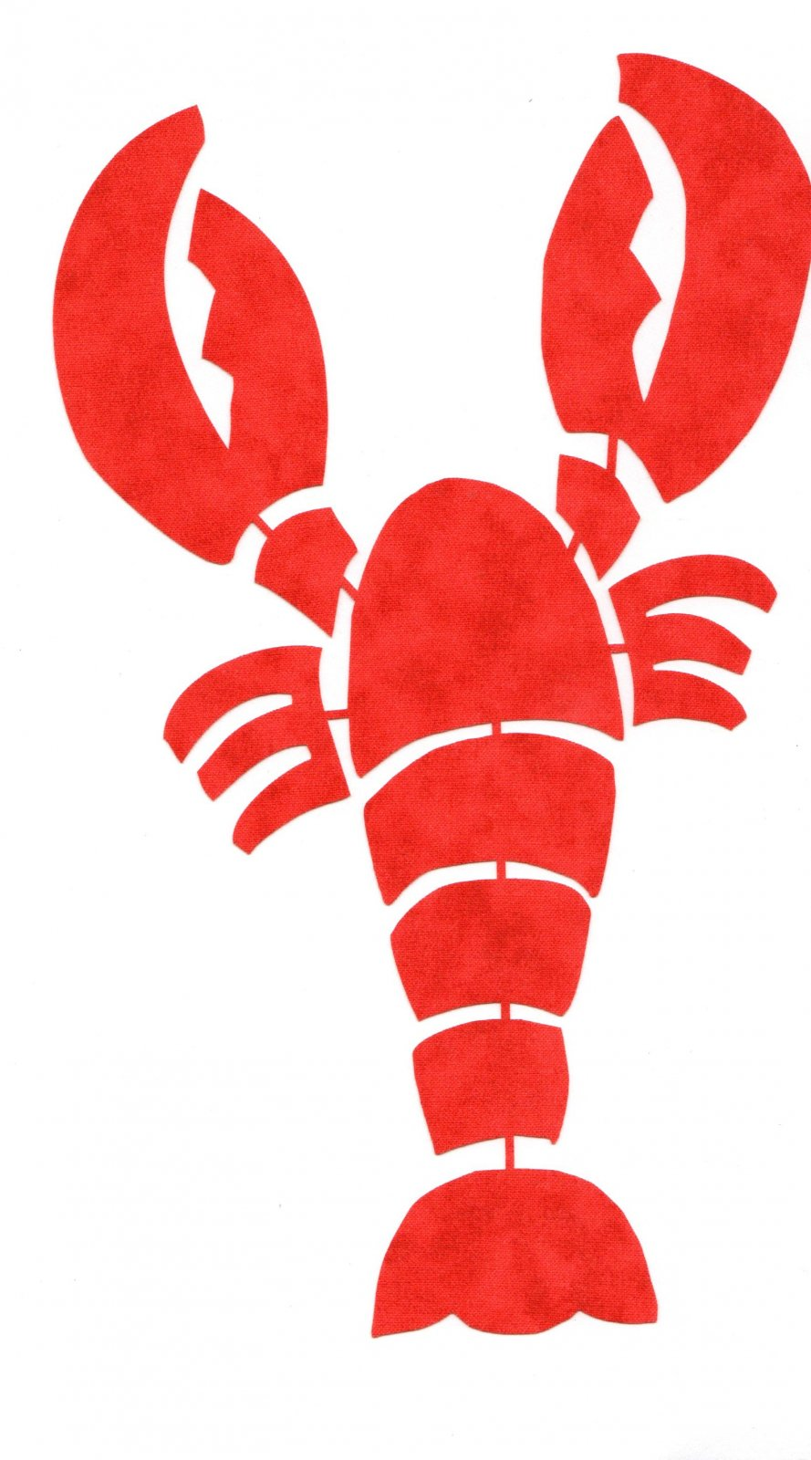 Lobster Applique - Pre-Fused Laser Cut Lobster - 8 1/4  long