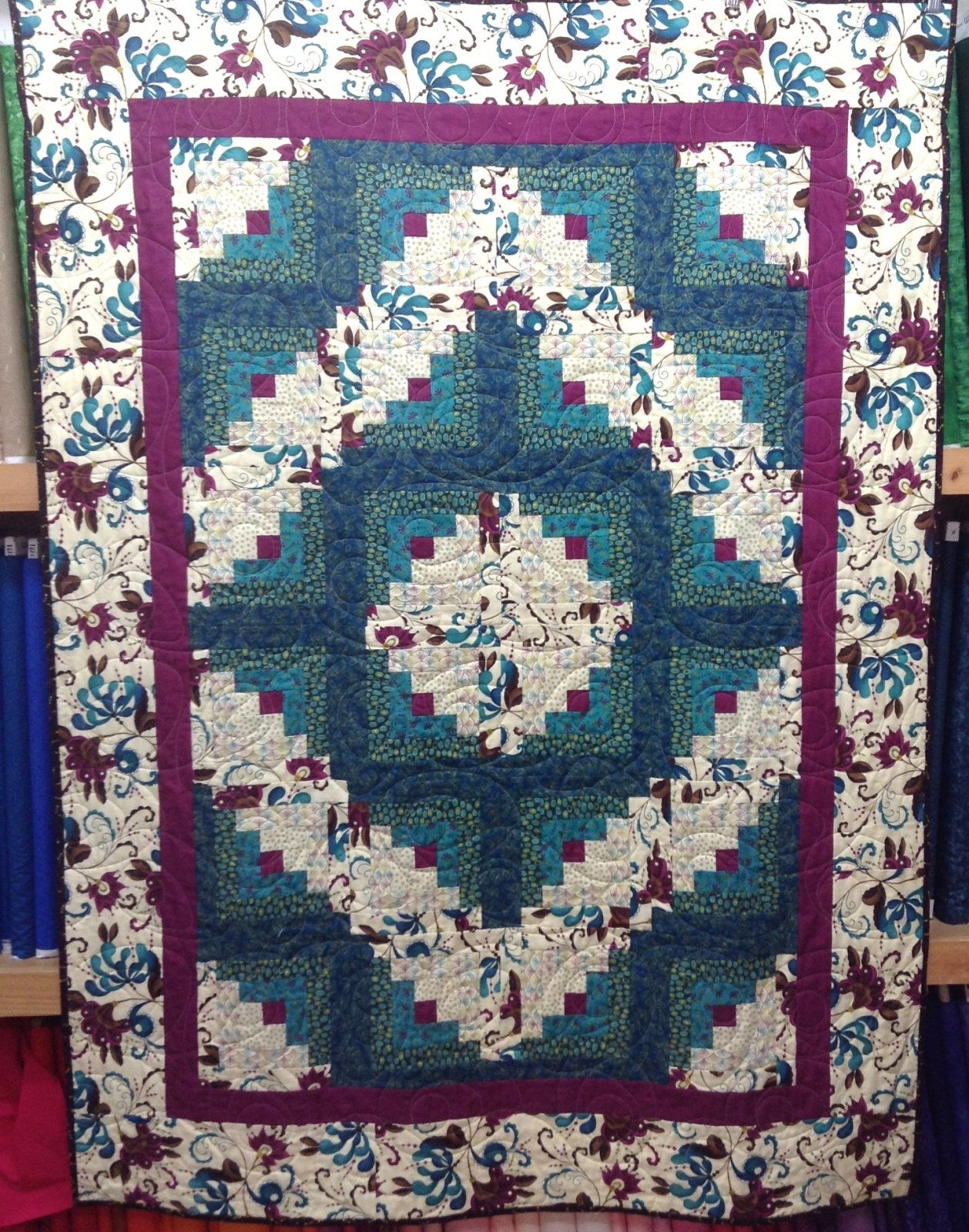 Quilt for Sale:  Soho Chic  Log Cabin - measures 50 x 68