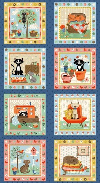 Makower UK Crafty Cats Panel TP 1729 1