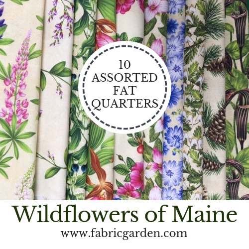 Wildflowers of Maine TEN FAT QUARTER PACK of Exclusive Maine Shop Hop 2019 Fabrics