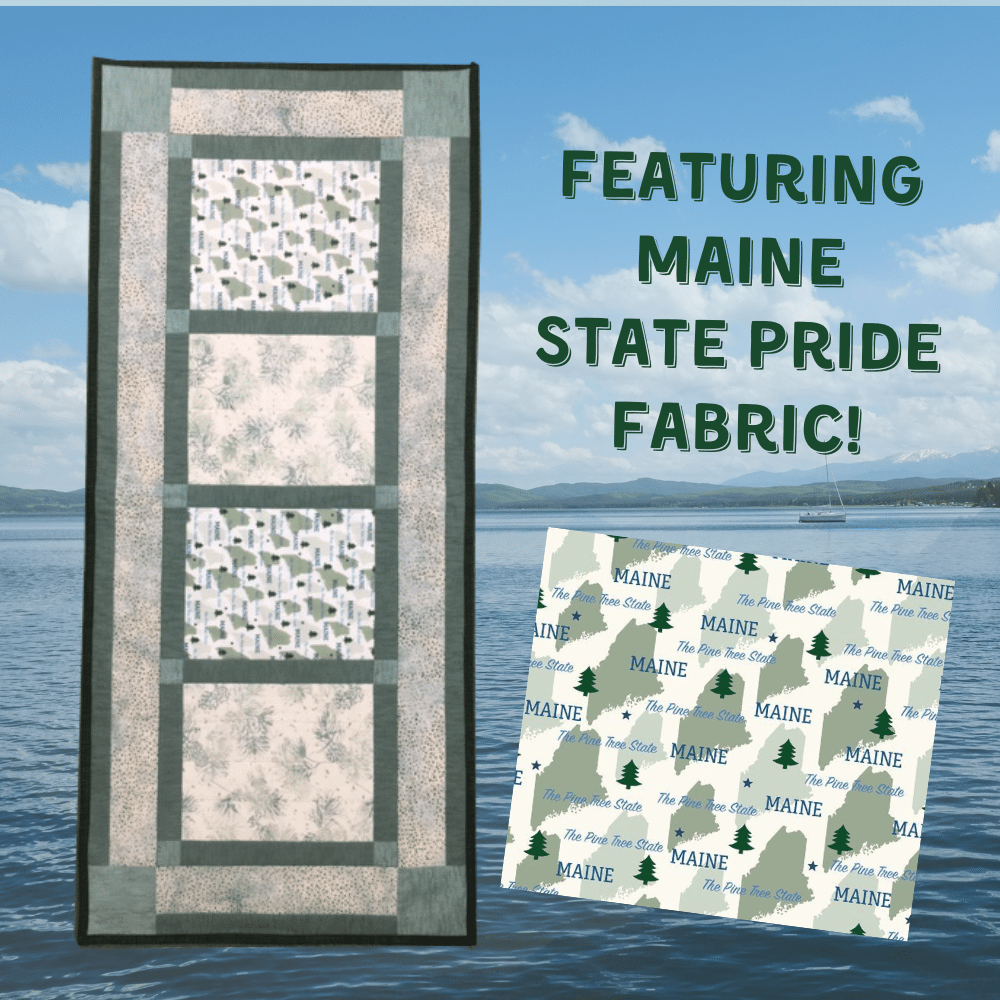 Maine State Table Runner Kit featuring Maine Fabric and Batiks