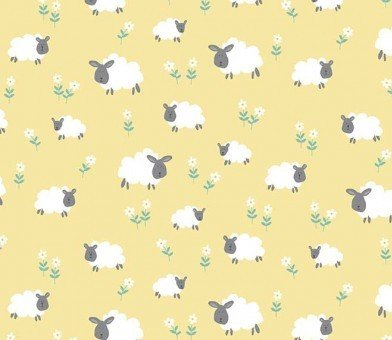 Counting Sheep fabric by Makower Fabrics: TP 2018 Y - Sheep - Yellow