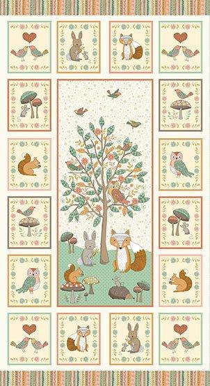 Makower UK Doodle Days -Bunny Hedgehog Fox  Owl Squirrel 1879-1 PANEL