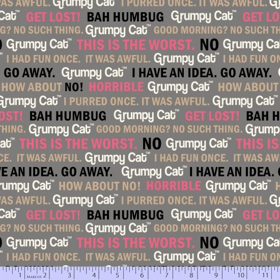 Grumpy Cat by Marcus Fabrics R11 9723 0126 Grumpy Cat Words
