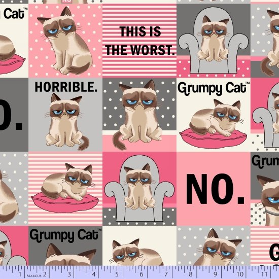 Grumpy Cat by Marcus Fabrics R11 9724 0144 Grumpy Cat Squares with Sayings