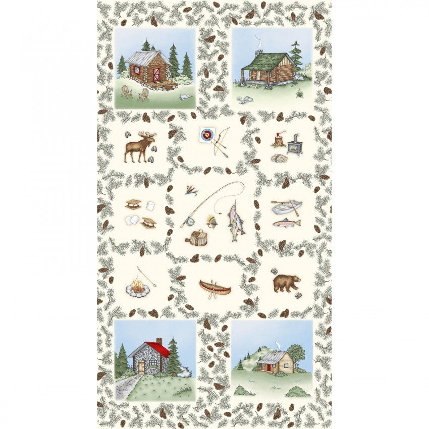 Maywood - Cozy Cabin by Kris Lammers 24 PANEL 9350-E Moose Cabin Bear Fish