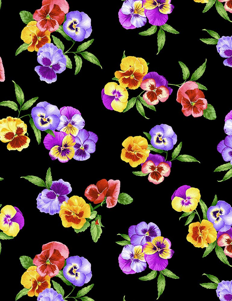 Timeless Treasures - Wild Meadow: CD7072 Multi Pansy Bunches