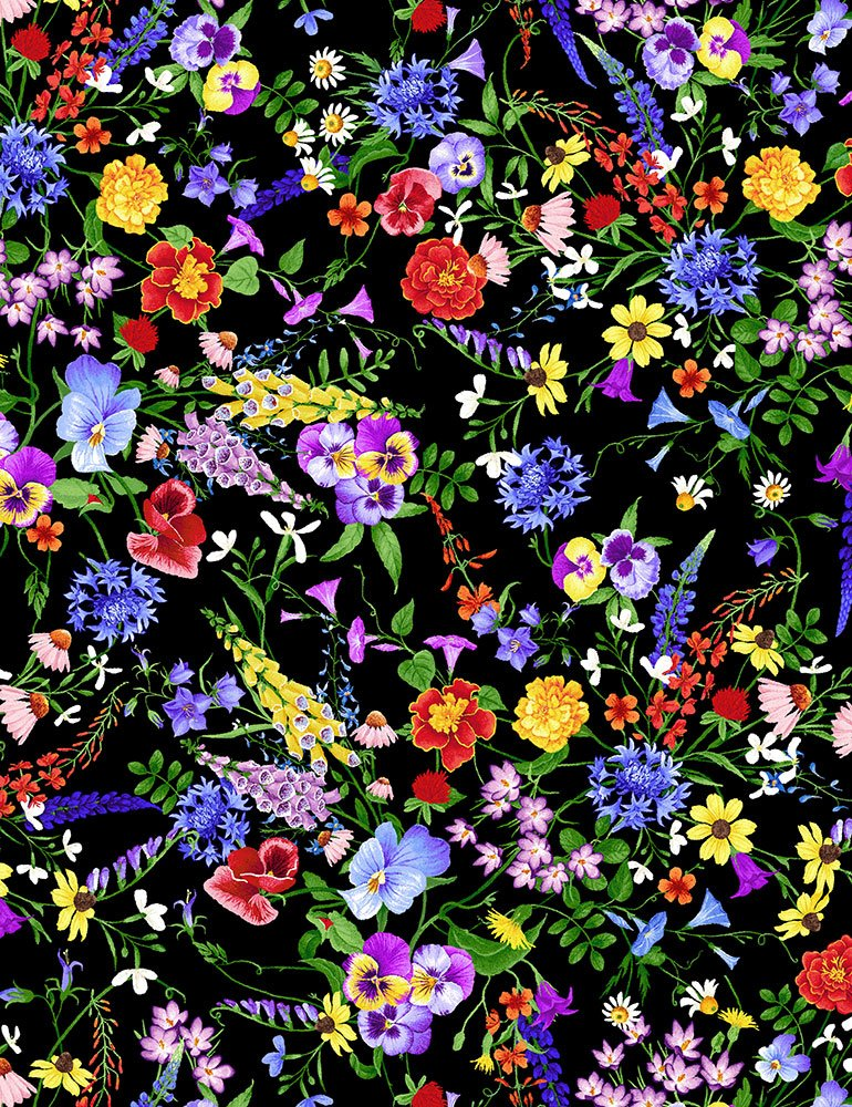 Timeless Treasures - Wild Meadow: CD7073-Multi Mini Flowers
