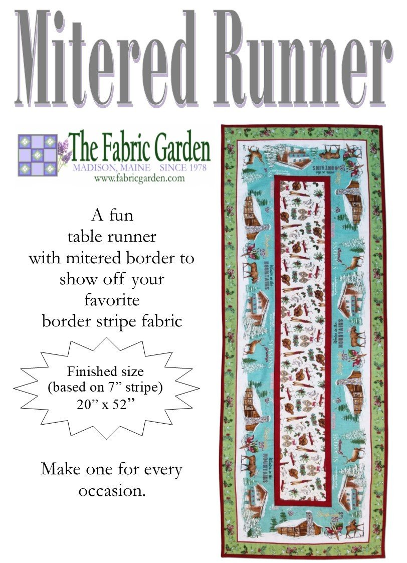 Fabric Garden - Mitered Table Runner Pattern - Great for Border Stripe Fabrics