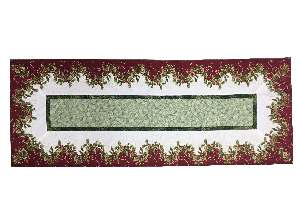 Elegant Holly & Berry Table Runner Kit featuring Metallic Fabrics