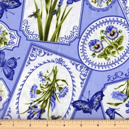 Northcott Botanical Blues 20457-42 Blue