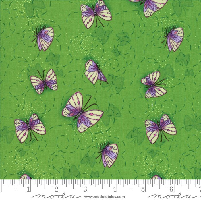 Moda - Sweet Pea & Lily by Robin Pickens 48642 21 Butterflies in Flight - Leaf Green