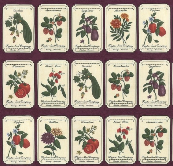 Moda - Fresh Off The Vine 6760 12 PANEL Seed Packets  - Purple