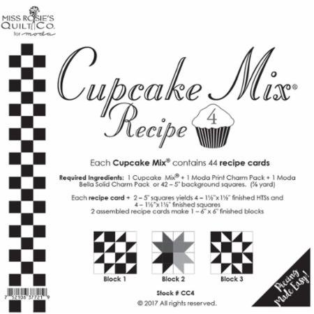 Cupcake Mix Recipe #4 CC4 | 44 Sheets - Make Quilt Blocks Using Your 5 Fabric Squares