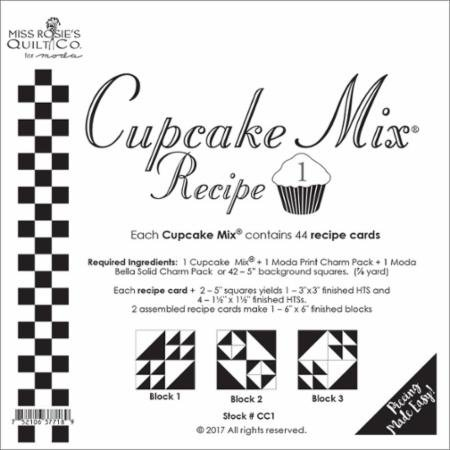 Cupcake Mix Recipe #1 CC1| 44 Sheets - Make Quilt Blocks Using Your 5 Fabric Squares