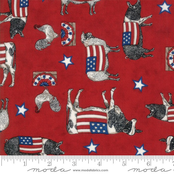 Moda - Land That I Love by Deb Strain 19881-13 Patriotic Farm Animals Red