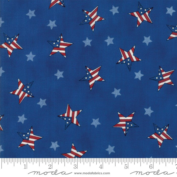 Moda - Land That I Love by Deb Strain 19884 12 Patriotic Tossed Flag Stars Light Blue