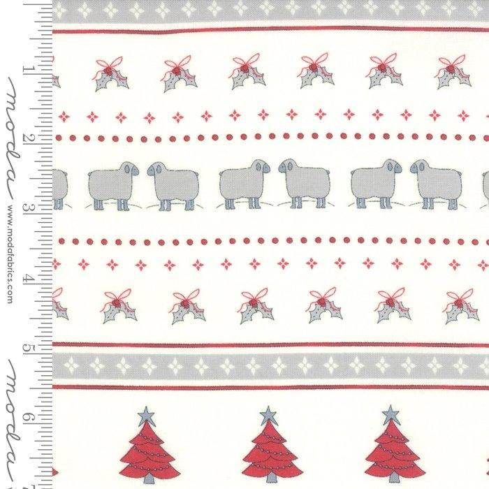 Moda Country Christmas 2960 11 Winter White Christmas Stripe Sheep by Bunny Hill Designs