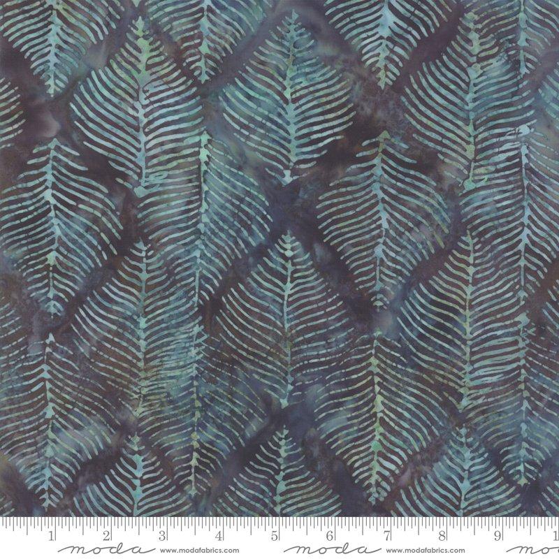 Moda Splendor Batiks 4354 17 Beech Leaves - Night Blue