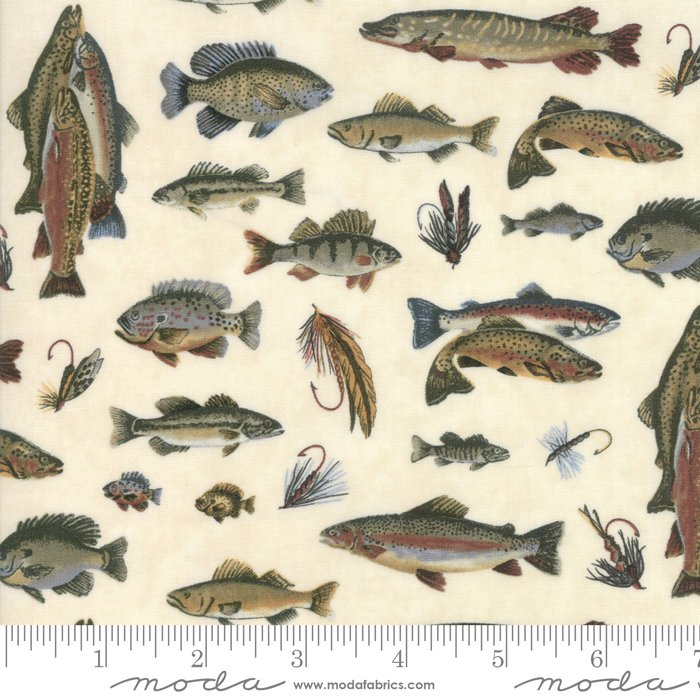Moda: Lake Views 6801 13 Ecru Fish and Fishing Flies