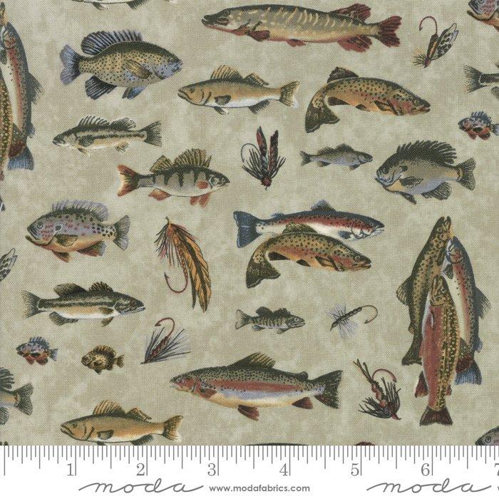 Moda: Lake Views 6801 16 Mist Green-  Fish and Fishing Flies