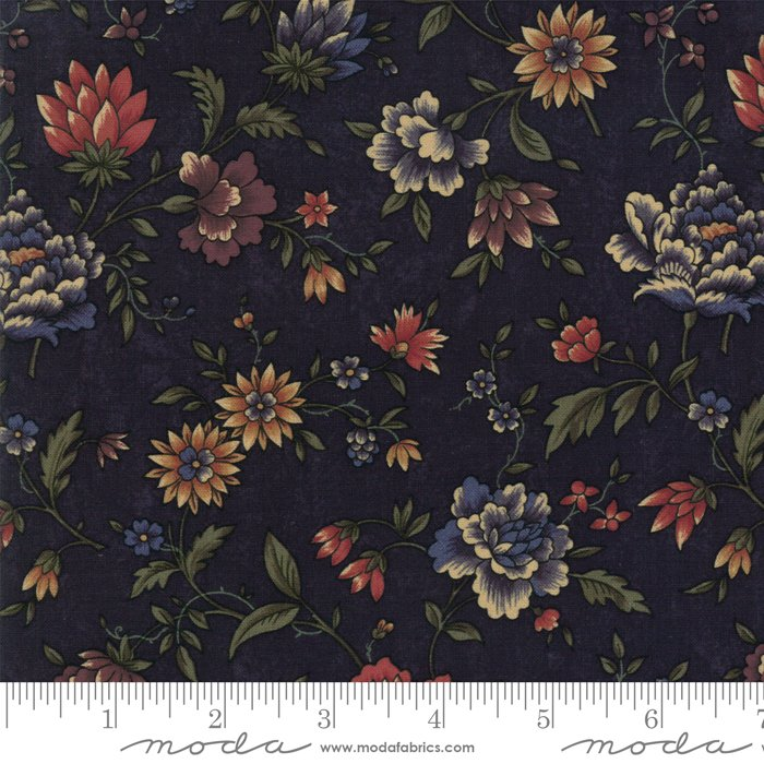Moda - Through The Years 9620 14 Navy Floral by Kansas Troubles Quilters
