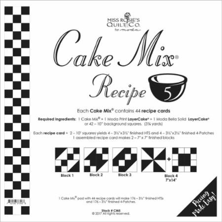Cake Mix Recipe #5 CM5 | 44 Sheets - Make Quilt Blocks Using Your 10 Fabric Squares