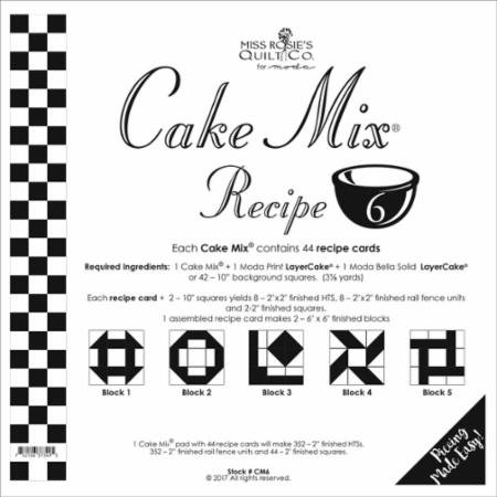 Cake Mix Recipe #6 CM6 | 44 Sheets - Make Quilt Blocks Using Your 10 Fabric Squares