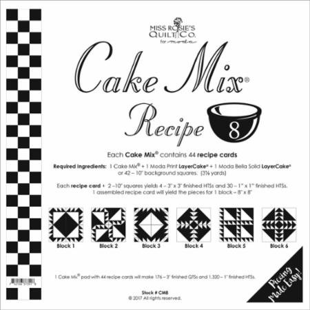 Cake Mix Recipe #8 CM8 | 44 Sheets - Make Quilt Blocks Using Your 10 Fabric Squares