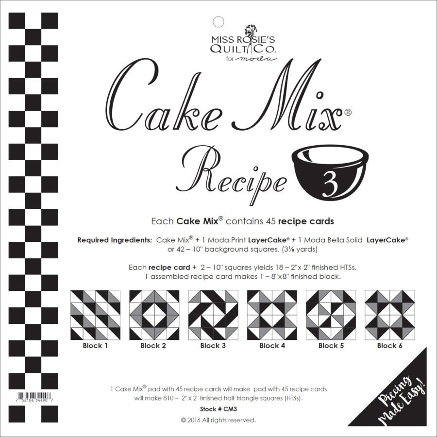 Cake Mix Recipe #3 CM3 | 44 Sheets - Make Quilt Blocks Using Your 10 Fabric Squares
