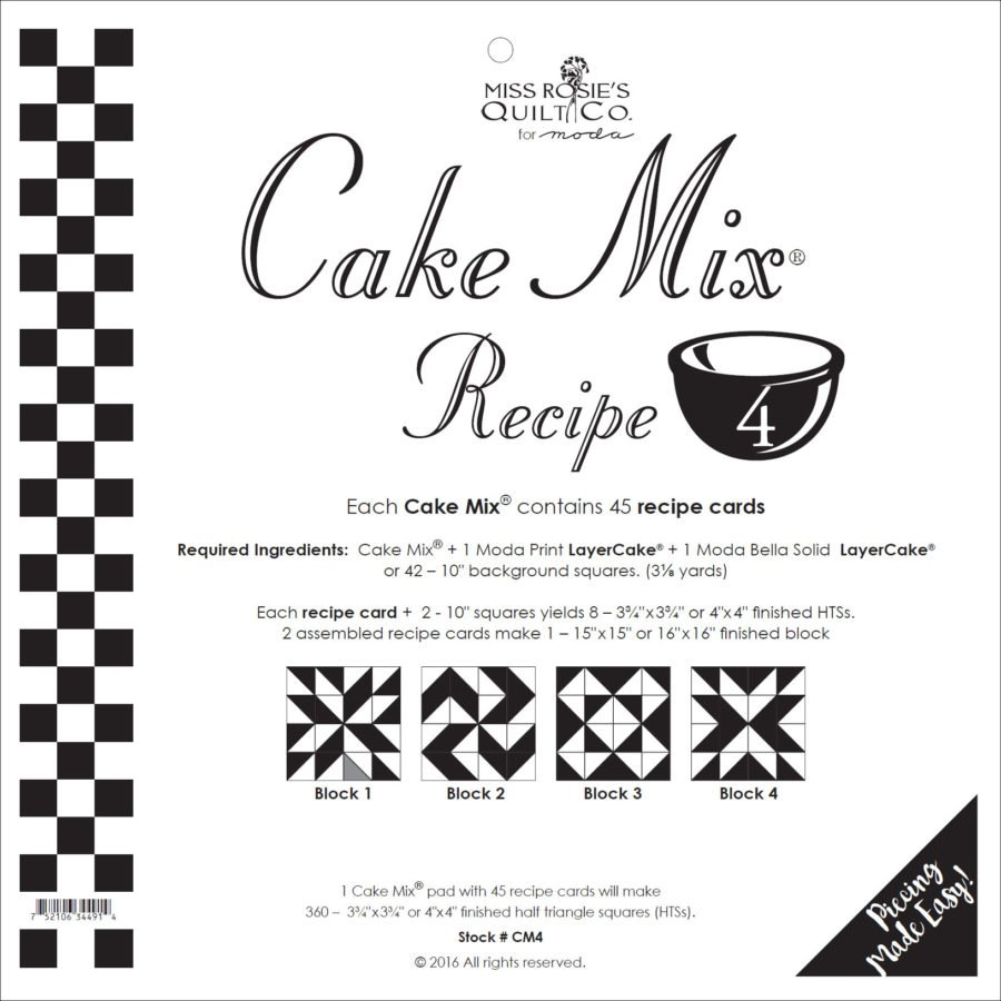 Cake Mix Recipe #4 CM4 | 44 Sheets - Make Quilt Blocks Using Your 10 Fabric Squares