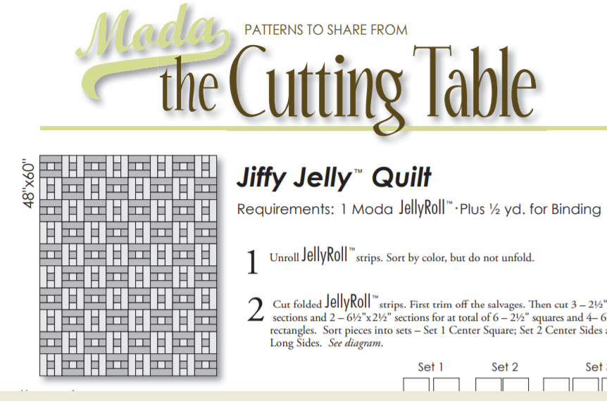 Free Pattern:  Moda Jiffy Jelly Quilt - Turn 1 Jelly Roll into a quilt!
