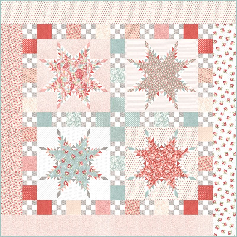 Moda SANCTUARY Peace Quilt Kit - Feathered Stars Quilt