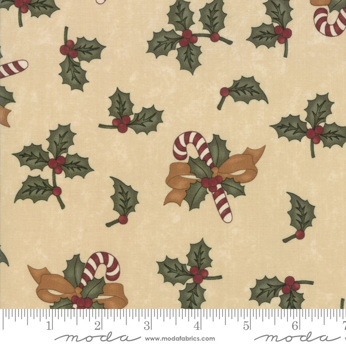 Moda - Sweet Holly 9630 11 Tan Candy Canes Holly by Kansas Troubles Quilters