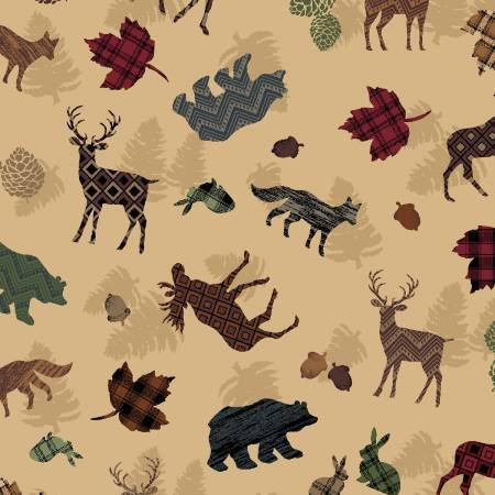 P&B Moose Meadows Flannel 476 Multi Toss Textured Wildlife